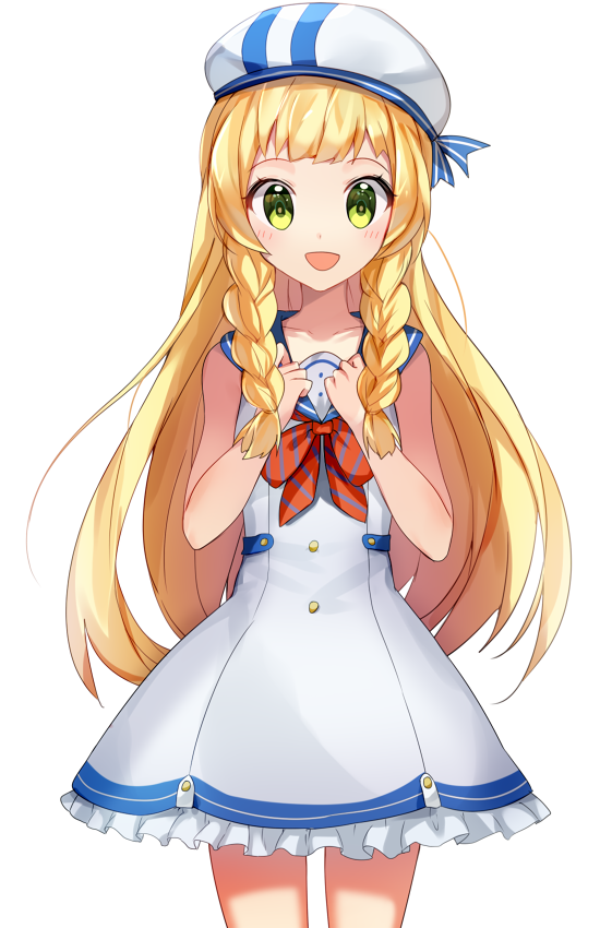1girl alternate_costume blonde_hair braid dress green_eyes hat lillie_(pokemon) long_hair open_mouth pokemon pokemon_(game) pokemon_sm sailor_collar sailor_dress simple_background sleeveless sleeveless_dress solo twin_braids white_background white_dress yuhi_(hssh_6)