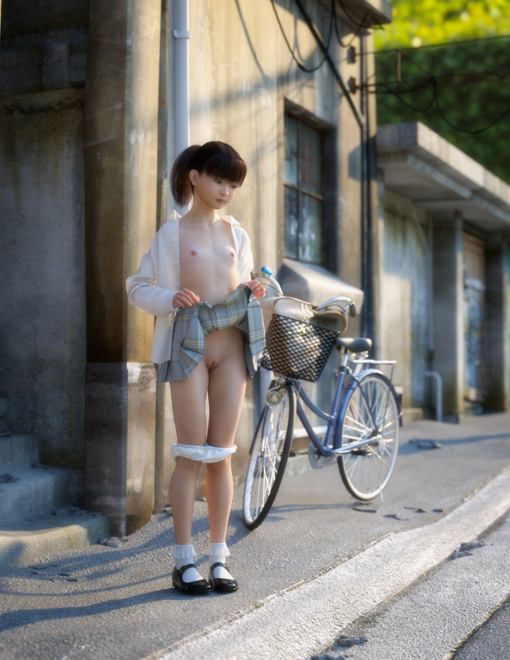 1girl 3dcg ankle_socks asian bangs bicycle black_hair blunt_bangs breasts highres looking_away mary_janes open_clothes open_shirt outdoors panties_around_knees pantsu pantsu_pull photorealistic ponytail public_nudity pussy shirt shoes small_breasts solo toufu_(tofusan) underwear upskirt