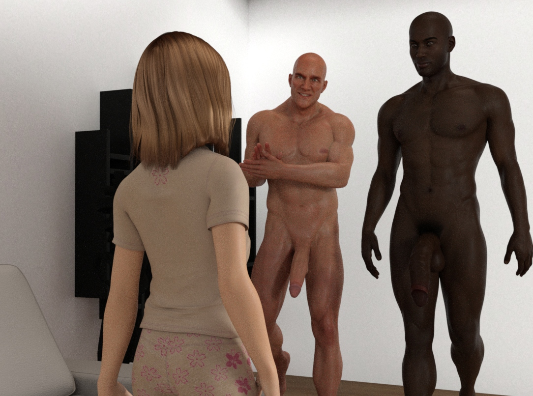 1girl 2boys 3dcg bald blonde_hair brown_skin dark_skinned_male gangbang group_sex huge_penis kawaii multiple_boys penis photorealistic uncensored