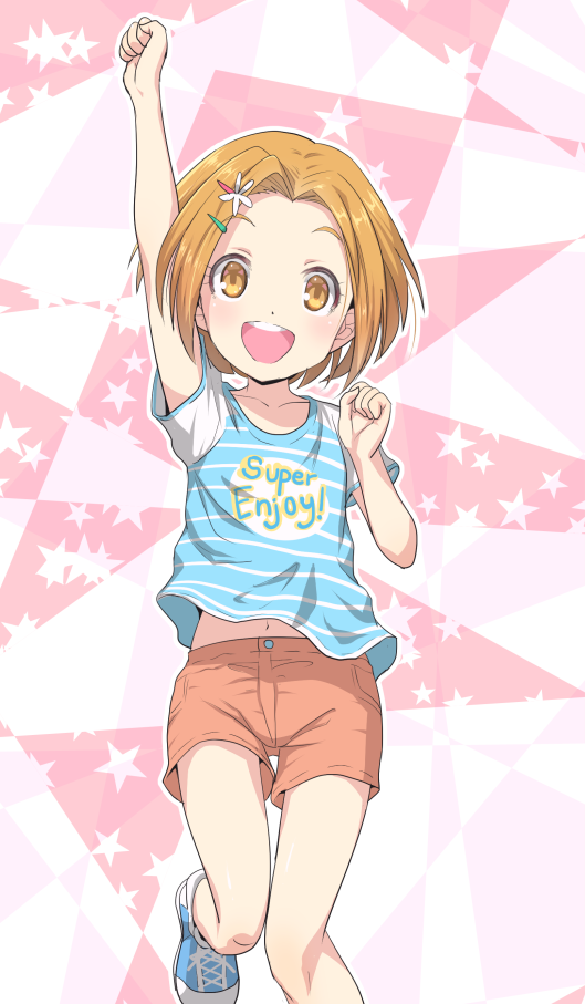 1girl :d arm_up bad_id bad_pixiv_id brown_eyes brown_hair collarbone hair_ornament hairclip idolmaster idolmaster_cinderella_girls idolmaster_cinderella_girls_starlight_stage jumping leg_up looking_at_viewer mashou_boy midriff navel open_mouth orange_shorts ryuuzaki_kaoru shirt shoes short_hair short_shorts short_sleeves shorts smile sneakers solo stomach striped striped_shirt