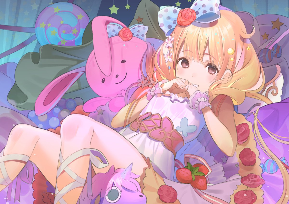 1girl bangs blonde_hair blue_bow blush bow bracelet breasts brown_eyes candy candy_wrapper dress eyebrows_visible_through_hair flower food fruit futaba_anzu grin hair_between_eyes hair_bow hair_flower hair_ornament hands_up idolmaster idolmaster_cinderella_girls idolmaster_cinderella_girls_starlight_stage jewellery koyoi_mitsuki leg_ribbon lollipop long_hair looking_at_viewer pearl_bracelet pink_flower polka_dot polka_dot_bow red_flower red_rose ribbon rose sleeveless sleeveless_dress small_breasts smile solo star star_hair_ornament strawberry striped striped_ribbon stuffed_animal stuffed_bunny stuffed_toy stuffed_unicorn swirl_lollipop very_long_hair white_dress white_ribbon wrist_cuffs