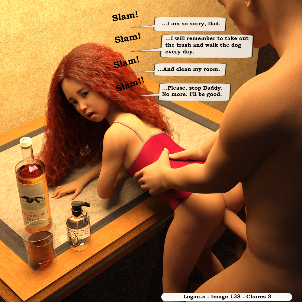 1boy 1girl 3dcg age_difference alcohol ass english father_and_daughter from_behind hetero incest logan-x long_hair looking_back lube open_mouth penis photorealistic rape red_hair sex standing