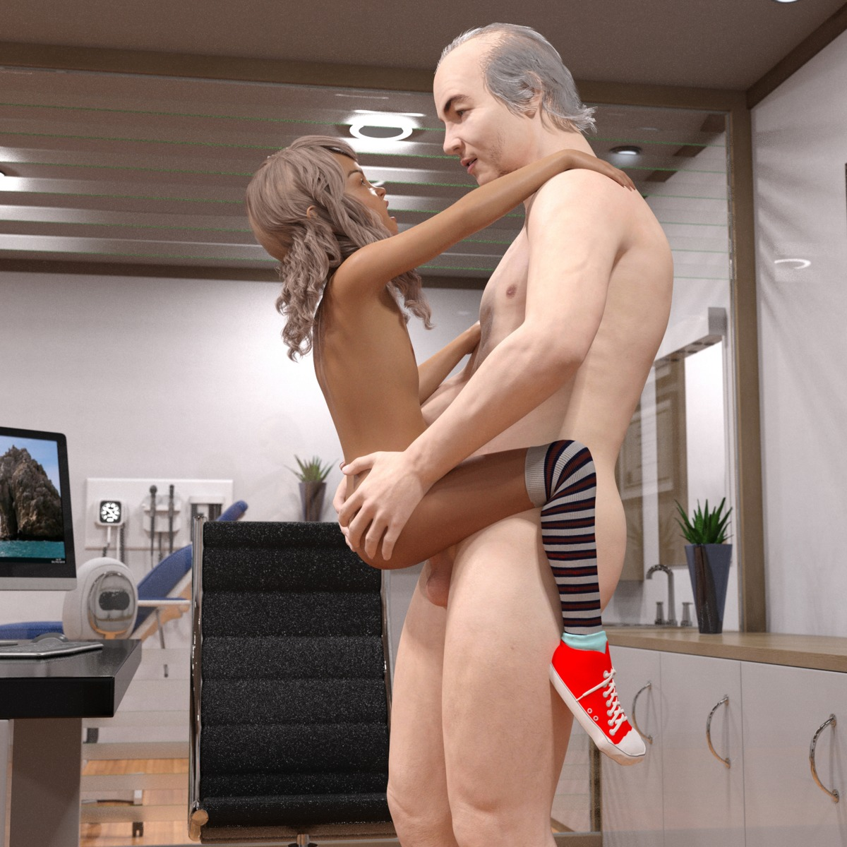 1boy 1girl 3dcg age_difference ass ass_grab doctor draxlasto flat_chest held_up highres looking_at_partner nipples nude open_mouth penis photorealistic rape sex shoes standing striped_legwear television testicles thighhighs vaginal