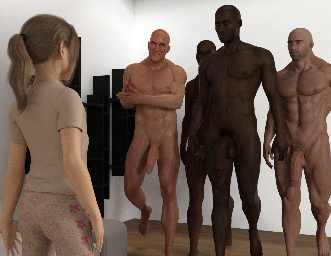 1girl 3dcg 4boys age_difference bald barefoot blonde_hair brown_skin dark_skinned_male gangbang group_sex huge_penis kawaii multiple_boys navel nipples nude penis photorealistic ponytail pubic_hair short_hair smile standing testicles uncensored