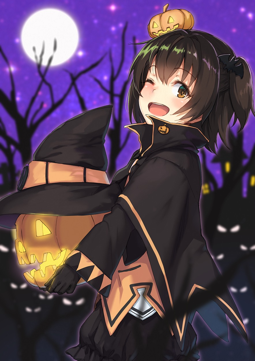 1girl akagi_miria bare_tree black_gloves black_hair blurry brown_eyes cape castle depth_of_field full_moon gloves halloween halloween_costume happy_halloween hat highres idolmaster idolmaster_cinderella_girls jack-o'-lantern maru_(maru1625) moon one_eye_closed open_mouth pumpkin short_hair solo tree trick_or_treat two_side_up witch_hat