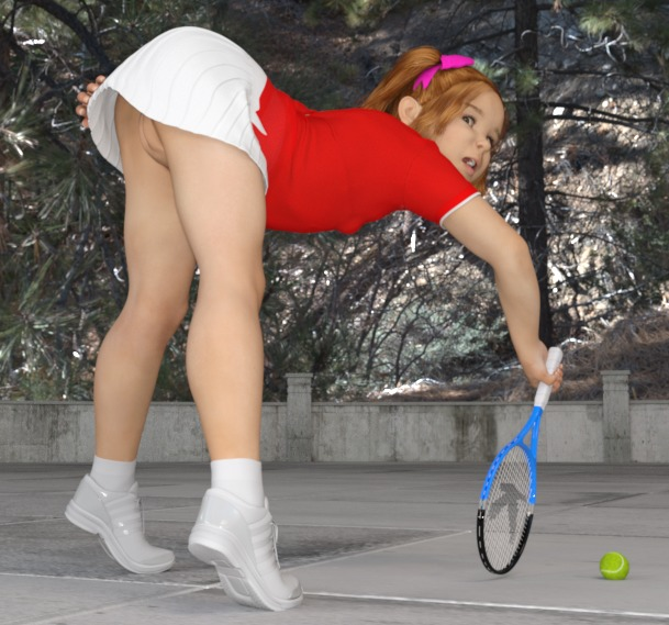 1girl 3dcg amberkat babette_(amberkat) budding_breasts original photorealistic pose pussy realistic skirt solo tennis tiptoes
