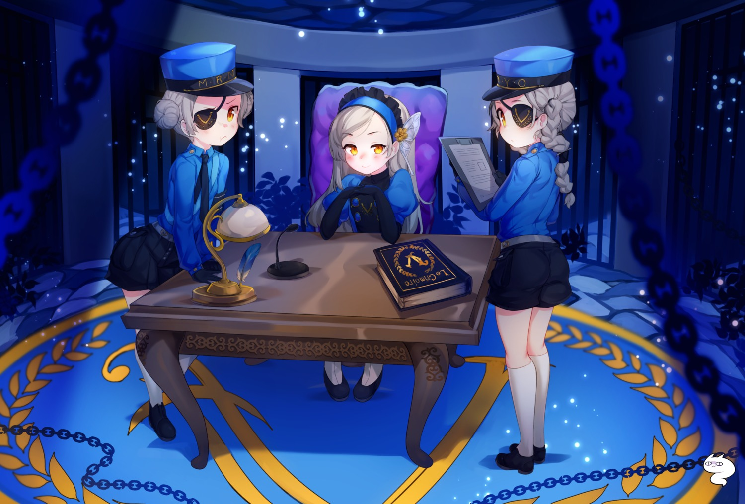 3girls black_gloves blush book braid caroline_(persona_5) chain chair desk double_bun elbow_gloves eyepatch flat_chest gloves hair_bun hairband hat headband highres justine_(persona_5) lavenza long_hair long_sleeves looking_at_viewer lounge_chair microphone multiple_girls necktie persona persona_5 proofmeh siblings sisters smile twin_braids twins yellow_eyes