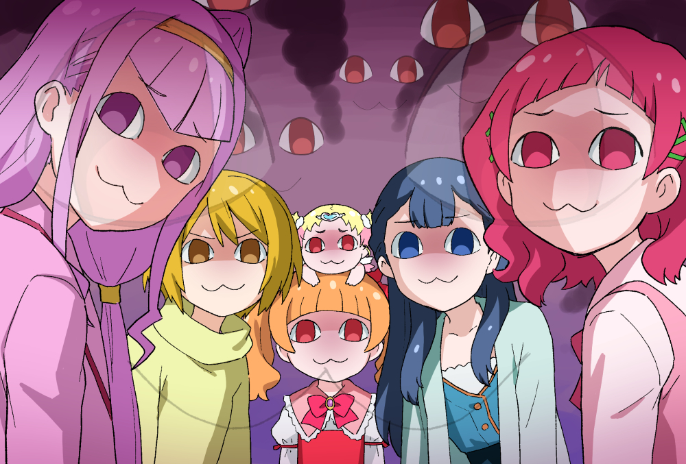 10s 6+girls :3 aisaki_emiru baby bangs blonde_hair blunt_bangs bow bowtie brown_hair cardigan double_bun dress hair_ornament hairband heart heart_hair_ornament horror_(theme) hug-tan_(precure) hugtto!_precure kagayaki_homare long_hair long_sleeves looking_at_viewer low_twintails multiple_girls nono_hana on_head person_on_head pink_eyes pink_hair precure purple_eyes purple_hair red_eyes ruru_amour sakecho shirt short_hair smile smoke sweater toddlercon turtleneck turtleneck_sweater twin_tails upper_body x_hair_ornament yakushiji_saaya yellow_eyes
