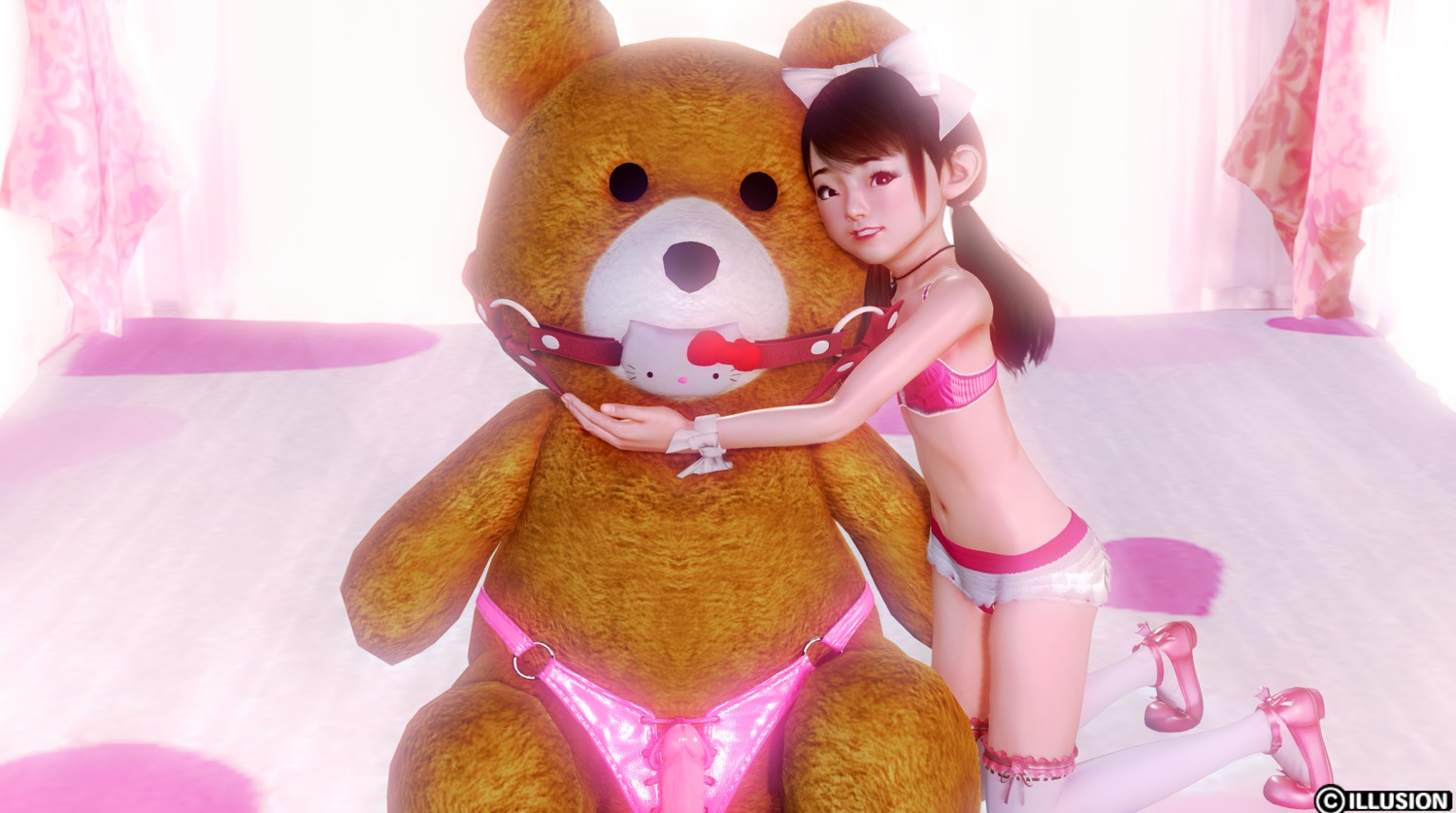 3dcg bare_arms bow brown_hair dildo hair_bow highres honey_select kneeling long_hair looking_at_viewer midriff navel photorealistic sex_toy stuffed_animal stuffed_toy tage-chan teddy_bear teeth twin_tails