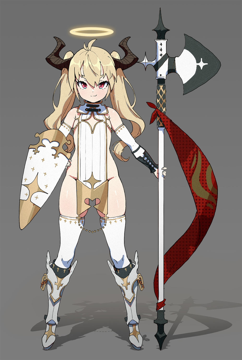 1girl armoured_boots bare_shoulders blush boots elbow_gloves flat_chest gloves groin hair_between_eyes halberd halo hand_on_hip highres holding holding_halberd holding_weapon horns original polearm red_eyes shield smile solo tabard thighhighs twin_tails waterkuma weapon white_background white_legwear