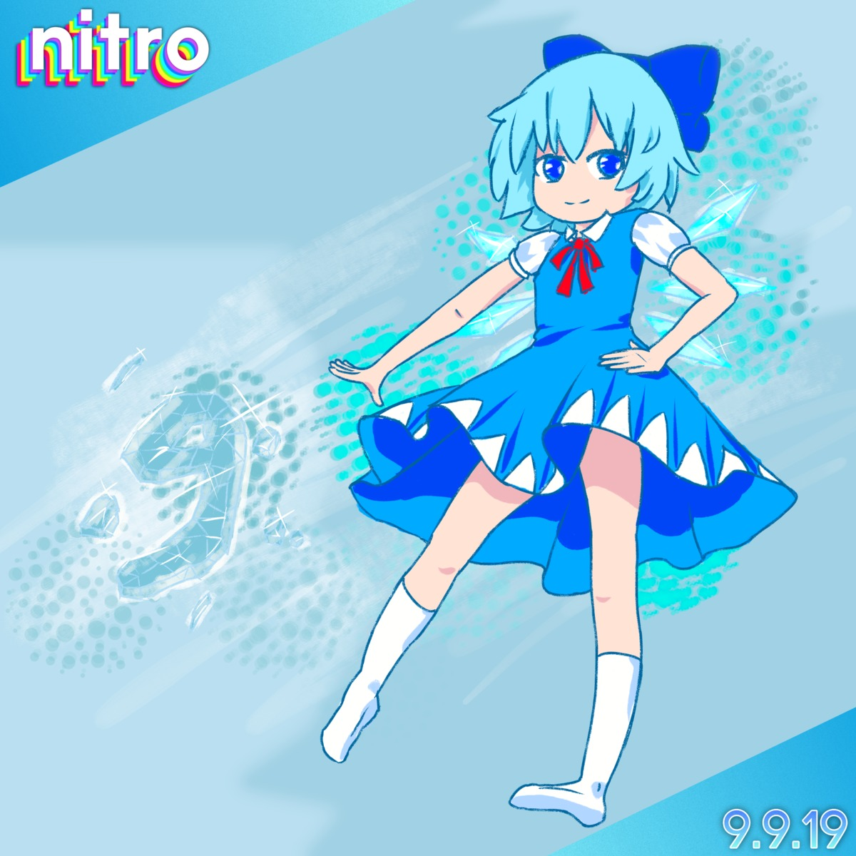 absurdres artist_name blue_eyes blue_hair bow cirno dated dress hair_bow hair_ribbon hand_on_hip highres ice_wings kneesocks looking_at_viewer nitro ribbon self_upload short_hair smile solo touhou_project