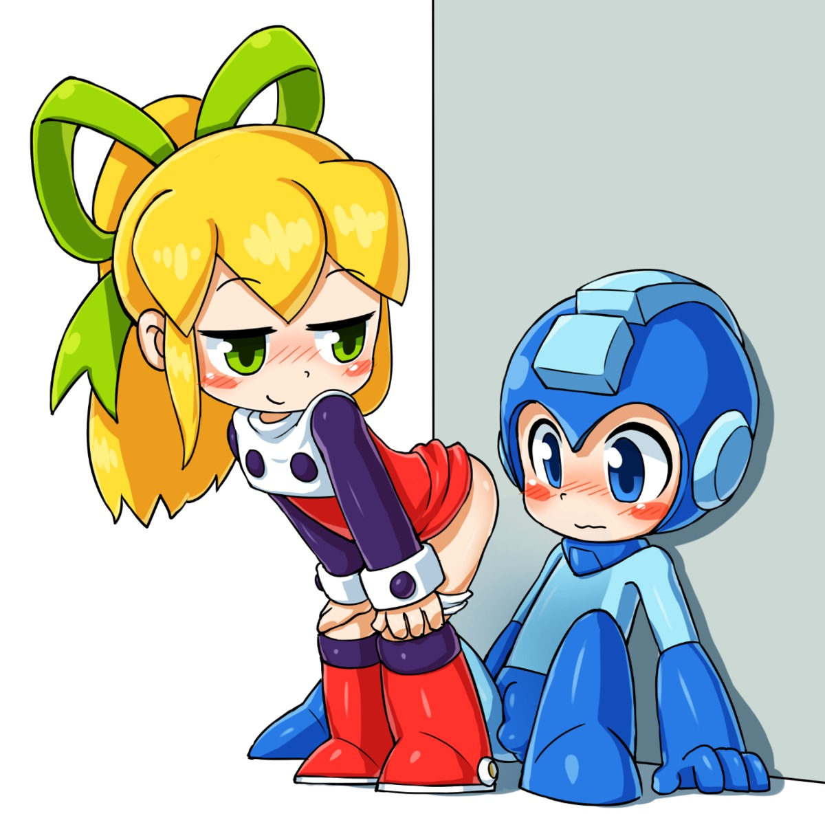 1boy 1girl arm_support blonde_hair blue_eyes blue_helmet blush blush_stickers boots bow brother_and_sister bulge choreuny_hyamkeu closed_mouth dress dress_lift erection_under_clothes eyebrows_visible_through_hair full_body green_bow hair_bow half-closed_eyes hands_on_own_knees helmet hetero jitome leaning_back long_hair long_sleeves pantsu pantsu_pull ponytail red_dress red_footwear rockman rockman_(character) rockman_(classic) roll shota siblings sitting smile standing underwear wavy_mouth white_background
