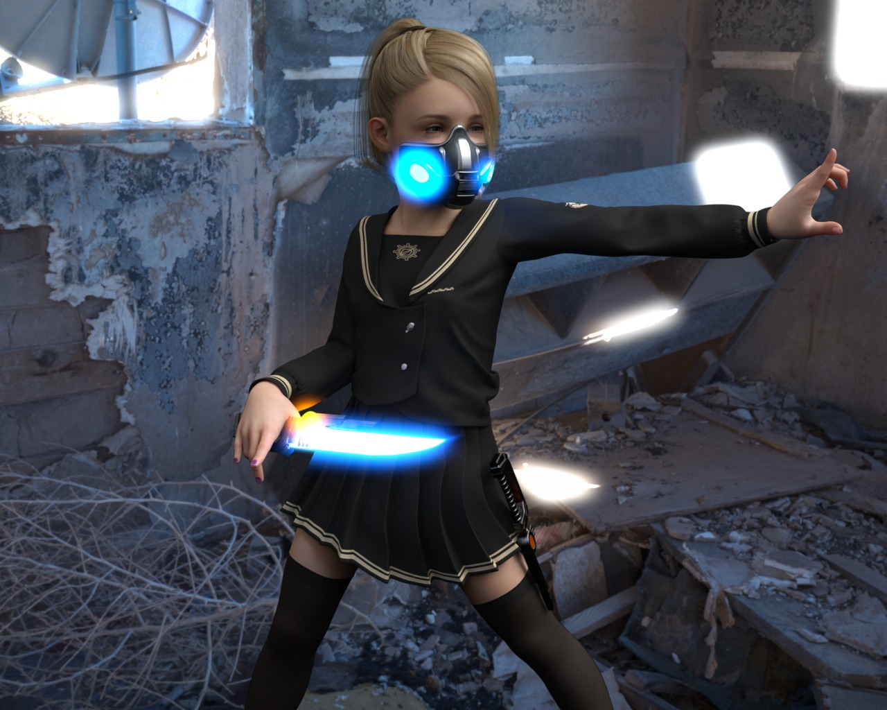 1girl 3dcg blonde_hair blue_eyes gas_mask kerowin knife nail_polish photorealistic ponytail rape spread_legs standing thighhighs zettai_ryouiki
