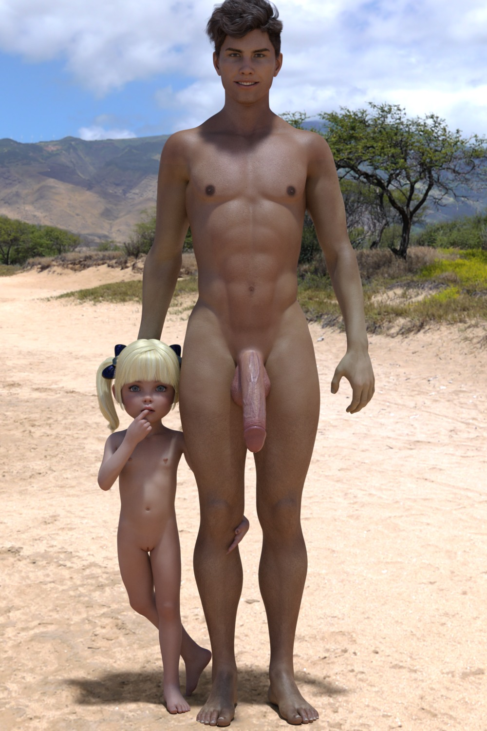 1boy 1girl 3dcg age_difference bangs barefoot blonde_hair blue_eyes blunt_bangs cammie finger_to_mouth flat_chest hand_on_another's_head looking_at_viewer mimic72 navel nipples nude outdoors penis photorealistic pose pussy shadow smile standing testicles twin_tails