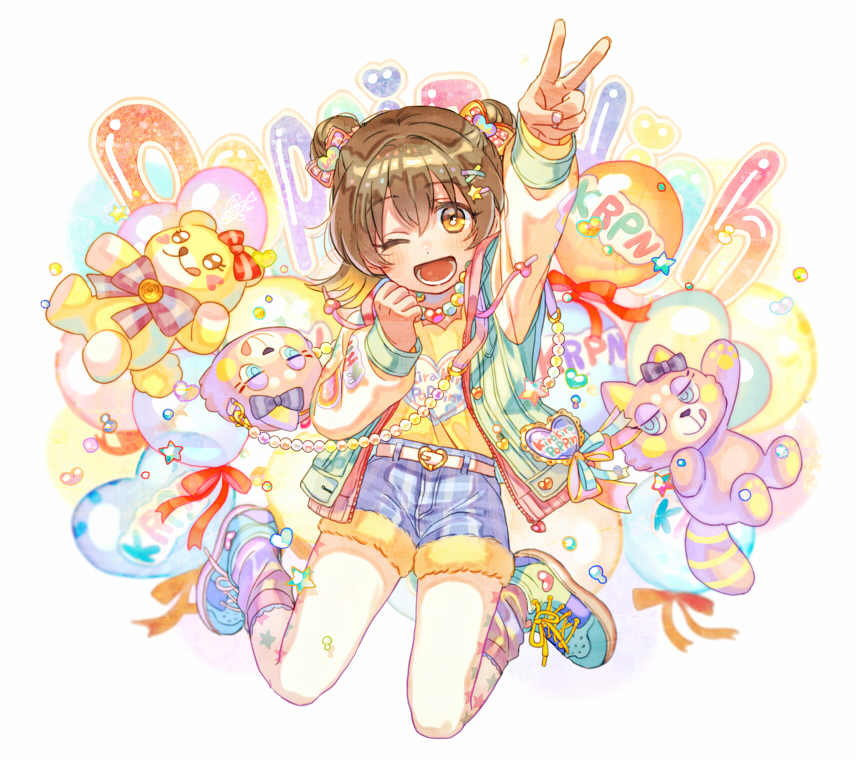 1girl akagi_miria animal_bag arm_up bag balloon belt belt_buckle black_hair blush bow brown_eyes buckle double_bun drawstring fur_trim hair_bow hair_ornament hairclip heart heart_balloon idolmaster idolmaster_cinderella_girls idolmaster_cinderella_girls_starlight_stage jacket jewellery loose_socks maple_(cyakapon) necklace one_eye_closed open_clothes open_jacket open_mouth pantyhose plaid plaid_shorts red_ribbon ribbon shoes short_hair short_shorts shorts shoulder_bag smile sneakers socks solo star star_hair_ornament star_print stuffed_animal stuffed_tanuki stuffed_toy teddy_bear v white_legwear