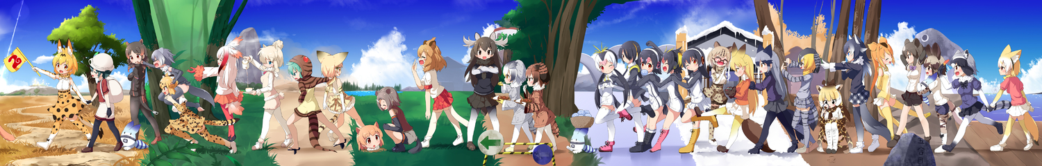 6+girls :d :o ^_^ absurdres african_wild_dog_(kemono_friends) african_wild_dog_print alpaca_ears alpaca_suri_(kemono_friends) alpaca_tail american_beaver_(kemono_friends) animal_ear_fluff animal_ears antlers backpack bag bear_ears bear_tail beaver_ears beaver_tail bird_tail black-tailed_prairie_dog_(kemono_friends) black_cerulean_(kemono_friends) black_eyes black_gloves black_hair black_legwear black_skirt blonde_hair blue_eyes boots bow bowtie brown_bear_(kemono_friends) brown_eyes brown_hair buried campo_flicker_(kemono_friends) caracal_(kemono_friends) caracal_tail carrying cat_ears cat_tail closed_eyes common_raccoon_(kemono_friends) curry directional_arrow dog_ears dog_tail eating elbow_gloves emperor_penguin_(kemono_friends) eurasian_eagle_owl_(kemono_friends) everyone extra_ears ezo_red_fox_(kemono_friends) fang fennec_(kemono_friends) fingerless_gloves flag food fox_ears fox_tail fur-trimmed_sleeves fur_collar fur_trim gentoo_penguin_(kemono_friends) giraffe_ears giraffe_horns giraffe_print gloves golden_snub-nosed_monkey_(kemono_friends) gradient_hair gradient_legwear green_eyes green_hair grey_gloves grey_hair grey_legwear grey_wolf_(kemono_friends) hair_over_one_eye hat head_wings high-waist_skirt highres hippopotamus_(kemono_friends) hippopotamus_ears holding_hands hood hood_up hoodie humboldt_penguin_(kemono_friends) jaguar_(kemono_friends) jaguar_ears jaguar_print jaguar_tail japanese_crested_ibis_(kemono_friends) japari_bun kaban_(kemono_friends) kemono_friends knee_boots legwear_under_shorts leotard lion_(kemono_friends) lion_ears lion_tail long_hair long_image low_twintails lucky_beast_(kemono_friends) magnifying_glass makuran margay_(kemono_friends) monkey_ears monkey_tail moose_(kemono_friends) moose_ears moose_tail multicoloured_hair multiple_girls northern_white-faced_owl_(kemono_friends) one_eye_closed open_mouth orange_eyes orange_hair orange_skirt otter_ears otter_tail pantyhose plaid plaid_skirt pleated_skirt ponytail prairie_dog_ears print_gloves print_legwear print_neckwear print_skirt raccoon_ears raccoon_tail red_eyes red_gloves red_hair red_legwear red_shirt reticulated_giraffe_(kemono_friends) rockhopper_penguin_(kemono_friends) royal_penguin_(kemono_friends) running sand_cat_(kemono_friends) sand_cat_print serval_(kemono_friends) serval_ears serval_print serval_tail shirt short_hair shorts shoulder_carry silver_fox_(kemono_friends) silver_hair skirt small-clawed_otter_(kemono_friends) smile snake_tail spats striped_tail tail thighhighs toeless_legwear tsuchinoko_(kemono_friends) twin_tails very_long_hair walking white_hair white_legwear white_shirt white_skirt wide_image wolf_ears wolf_tail yawning yellow_eyes yellow_legwear yellow_leotard