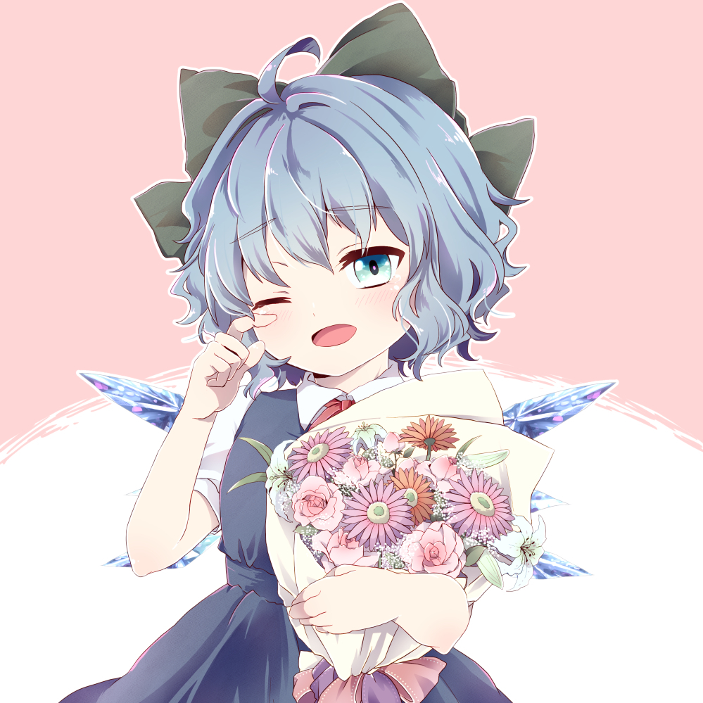 1girl arms_up baby's-breath blue_dress blue_eyes blue_hair blush bouquet bow cirno cowboy_shot daisy dress eyebrows_visible_through_hair finger_to_eye flower hair_bow happy_tears head_tilt holding holding_bouquet kuromame_(8gou) lily_(flower) one_eye_closed open_mouth outline pinafore_dress pink_background pink_flower pink_rose puffy_short_sleeves puffy_sleeves red_neckwear red_ribbon ribbon rose shirt short_hair short_sleeves simple_background solo tears touhou_project two-tone_background white_background white_shirt wings wiping_tears