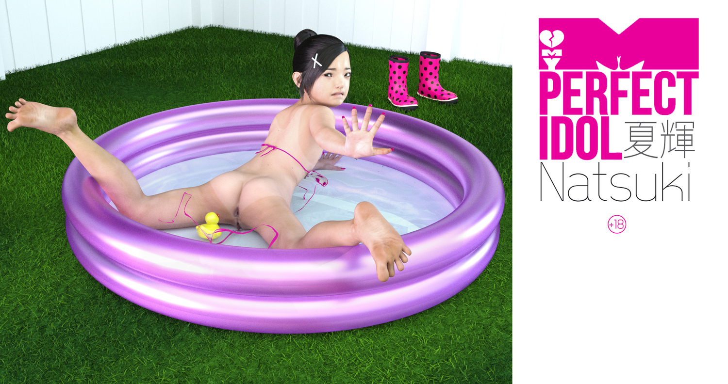 1girl 3dcg american_girls_paradise anus ass barefoot black_hair boots feet grass highres looking_at_viewer looking_back nail_polish natsuki photorealistic pool pussy rape sxxthk_(artist)