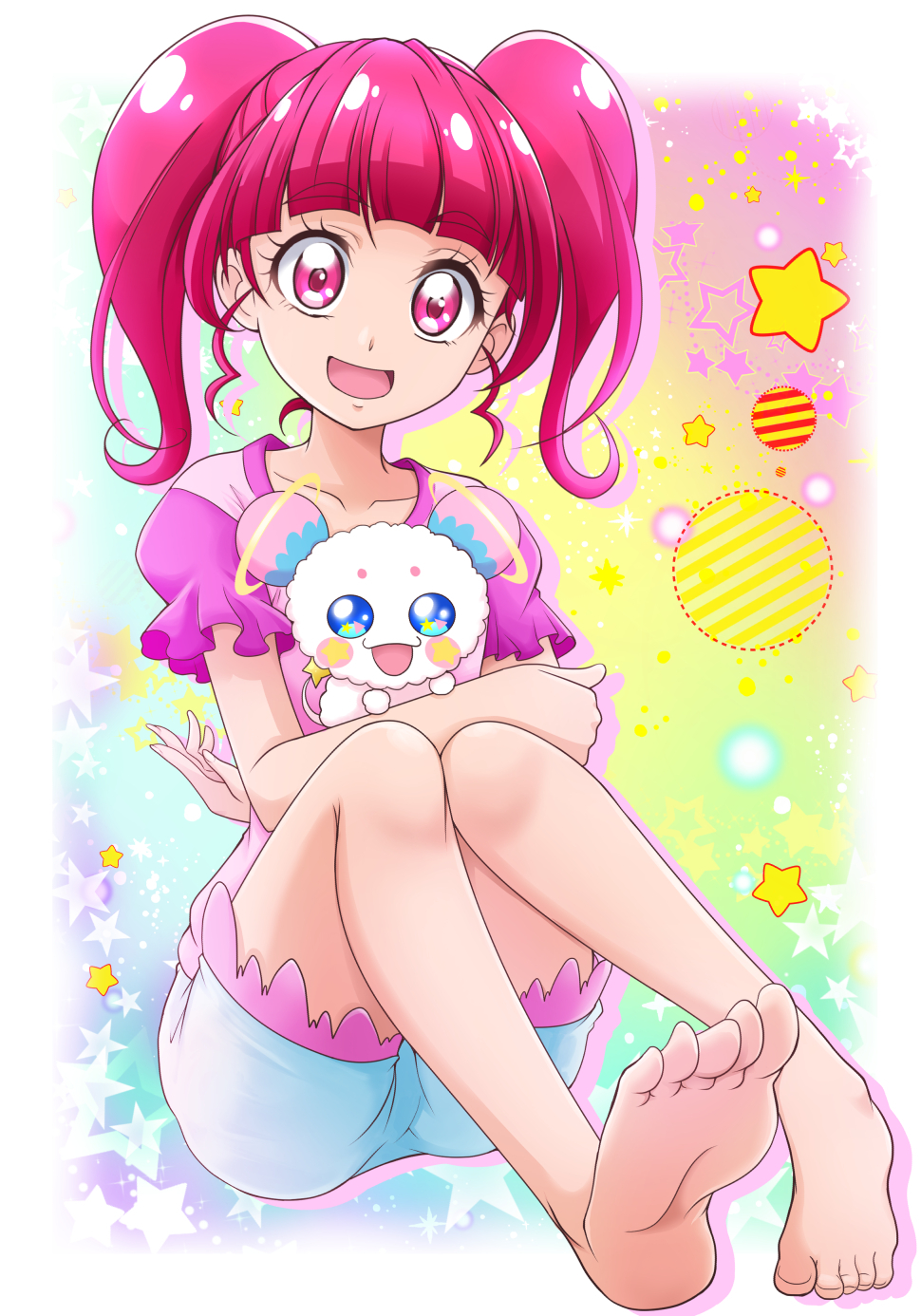 1girl :d bangs barefoot blunt_bangs collarbone eyebrows_visible_through_hair feet full_body fuwa_(precure) hanzou highres hoshina_hikaru long_hair looking_at_viewer open_mouth pink_eyes pink_hair pink_shirt precure shiny shiny_hair shirt short_shorts short_sleeves shorts sitting smile soles solo star star_twinkle_precure toes white_background white_shorts